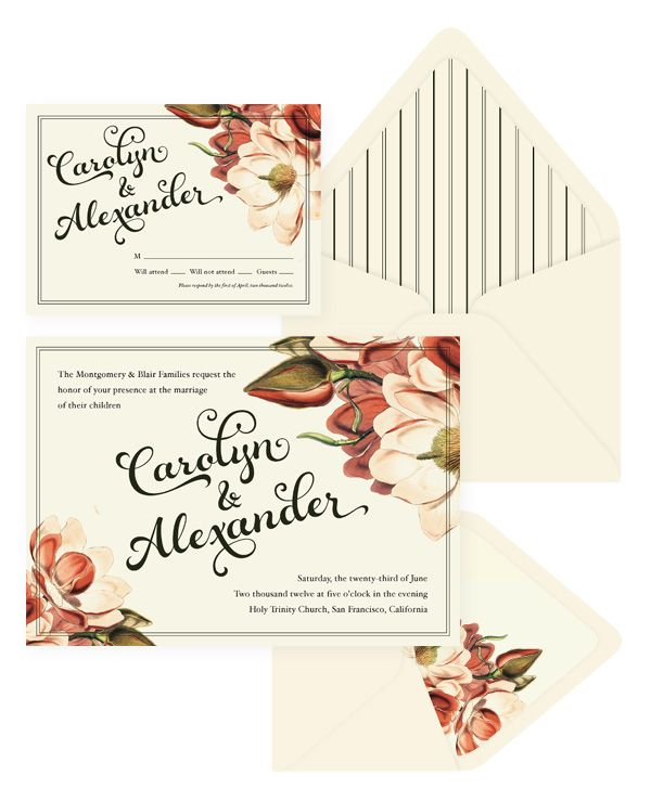 Vintage Botanical Wedding Invitation & RSVP