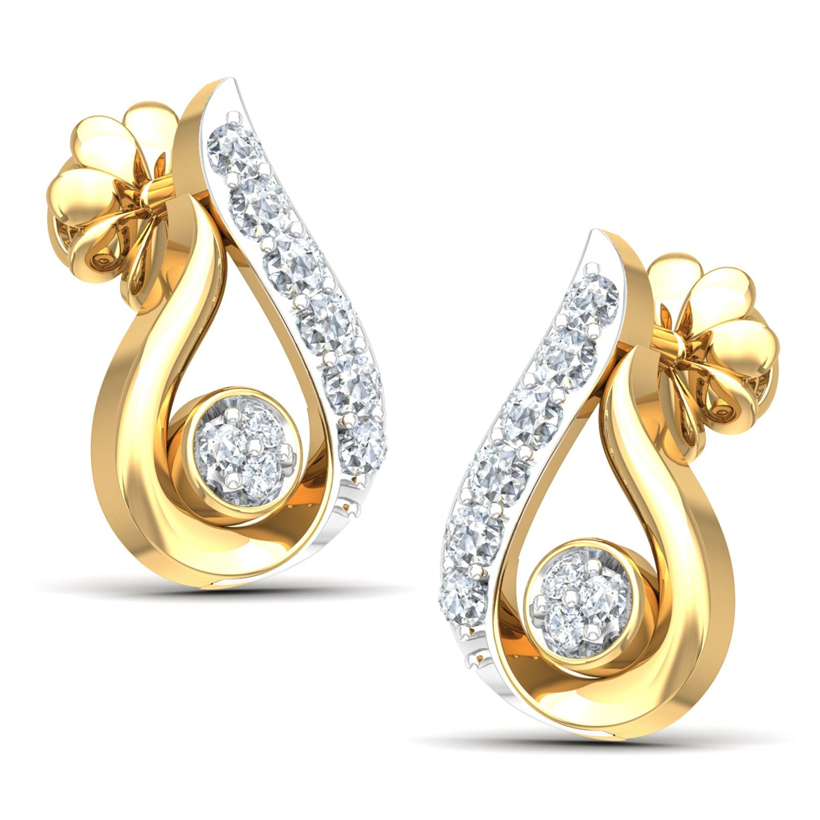 The Ectase Diamond Stud Earrings An enticing set of gold diamond