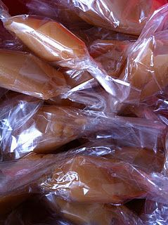 Homemade Caramels.  The best holiday treat I make.  People take these things by the handfuls until they are gone.