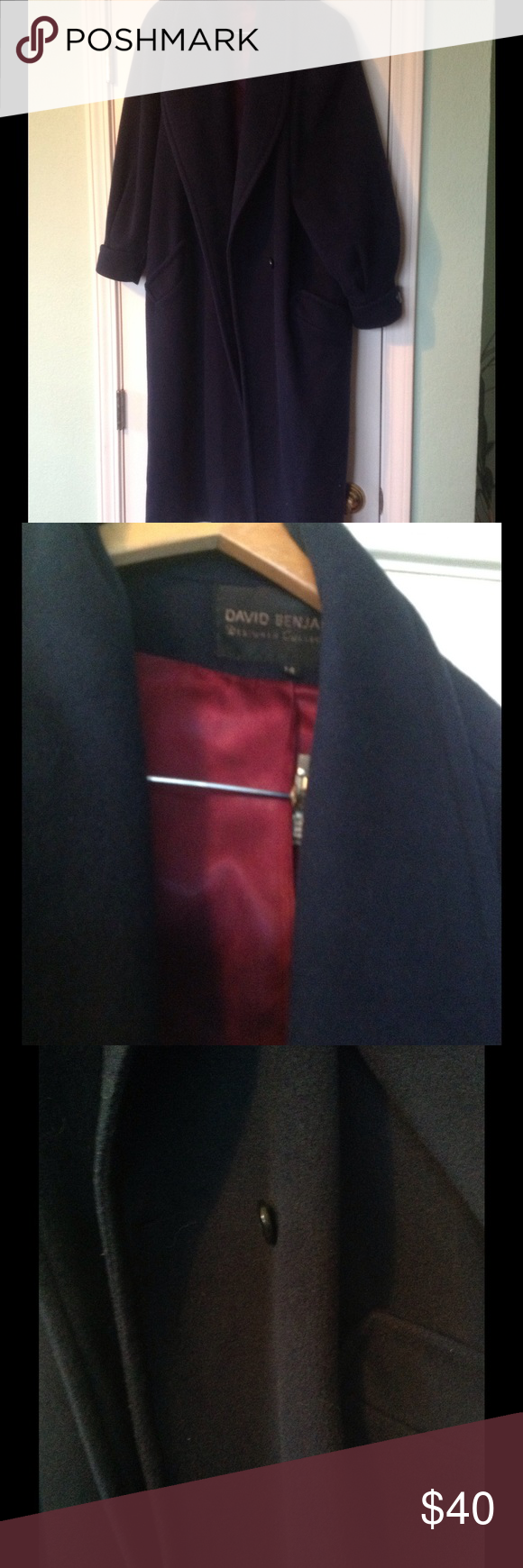 387ea6e2150a ... blue pea coat with button down buttons two side pockets burgundy satin  lining made of wool designer collection david benjamin Jackets   Coats Pea  Coats