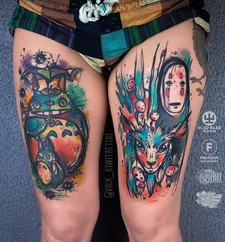 40 Graphic Watercolor Tattoos By Vika Kiwi Ghibli Tattoo Studio