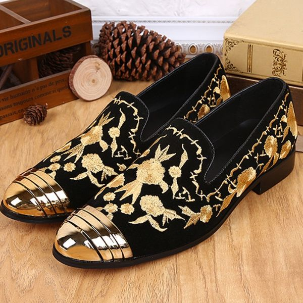 New Fashion Men s Customized Shoes Gold Line Embroidery Genuine ... 6900926cdb14