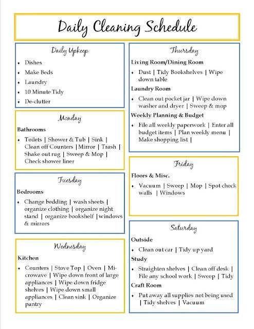 Daily Cleaning Schedule I just added these lists to the reminders - chores schedule template