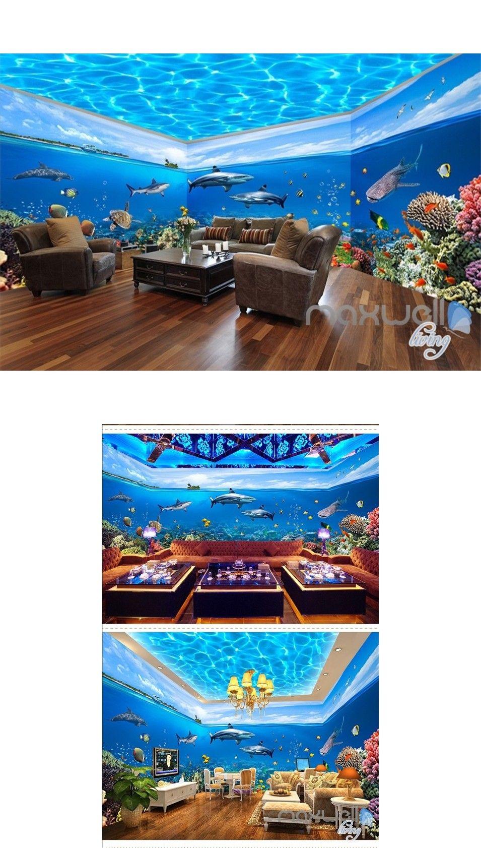 Fish tank ocean park theme space entire room wallpaper wall mural decal IDCQW-000012