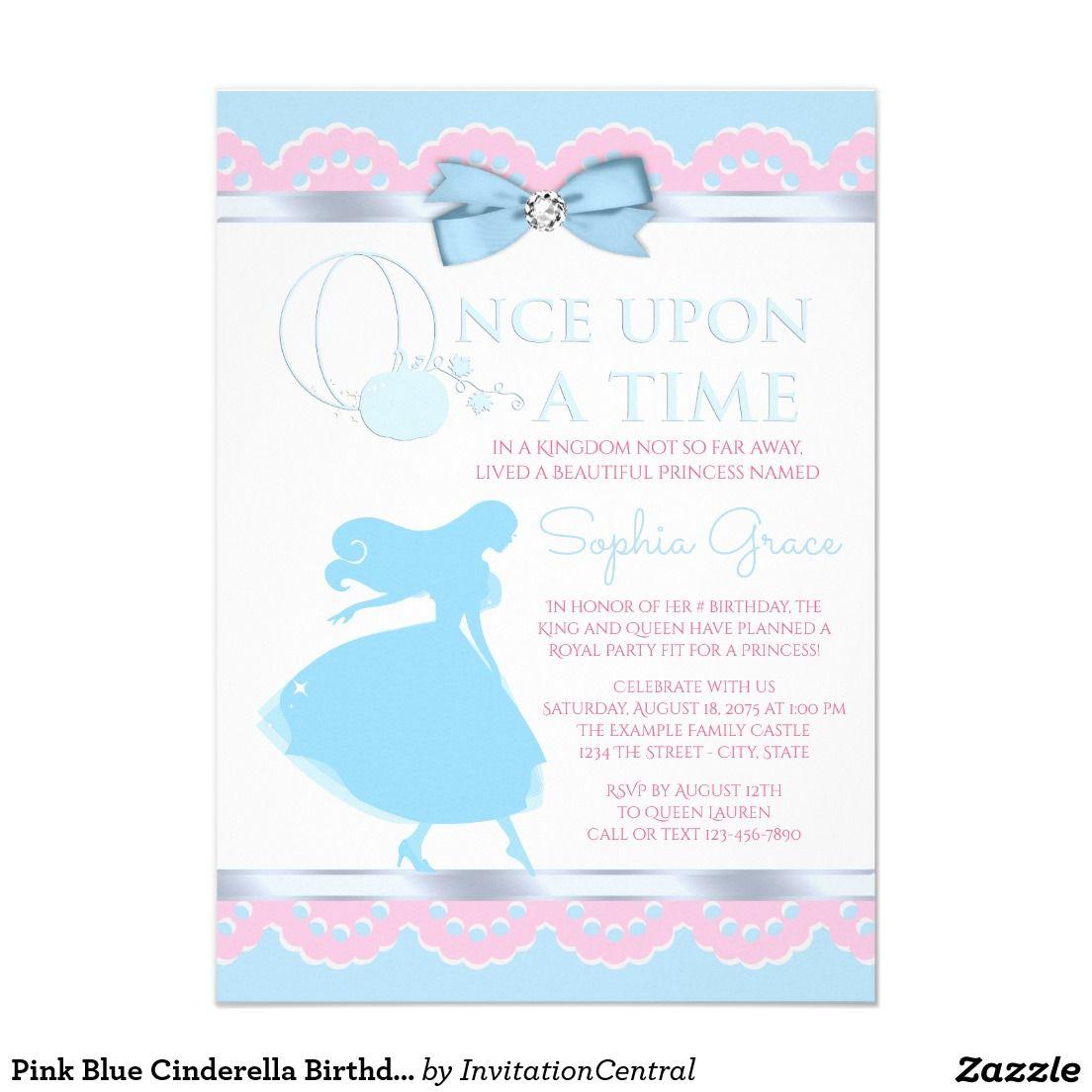 Pink Blue Cinderella Birthday Party Invitation   Kids Birthday Party ...