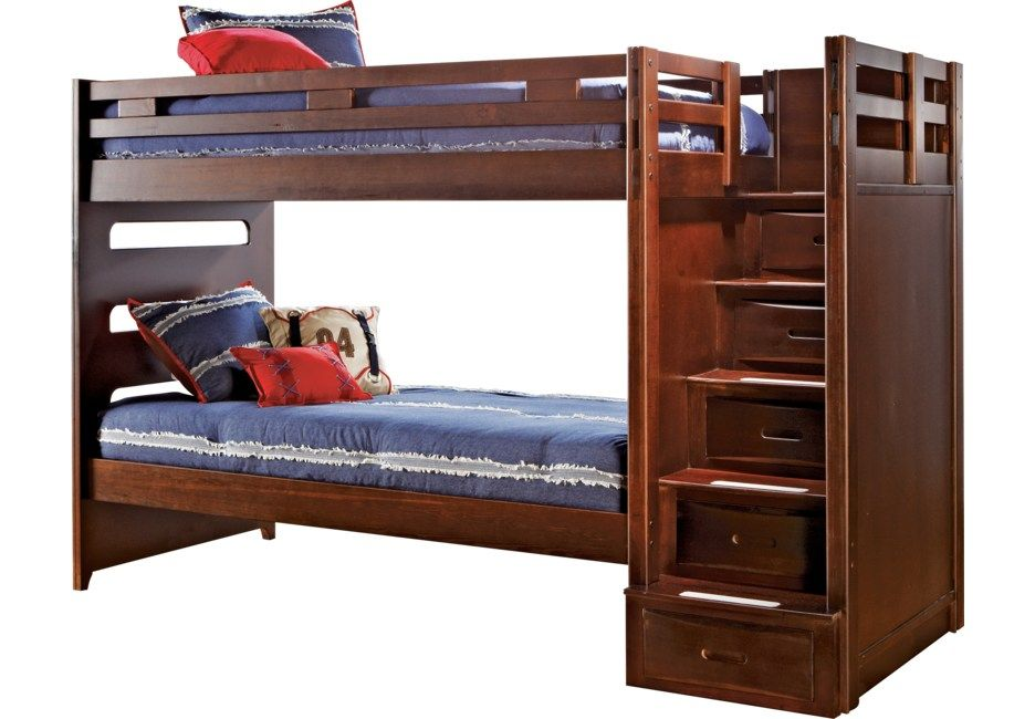 Best Ivy League Cherry Twin Twin Step Bunk Bed Loft Bed For 400 x 300
