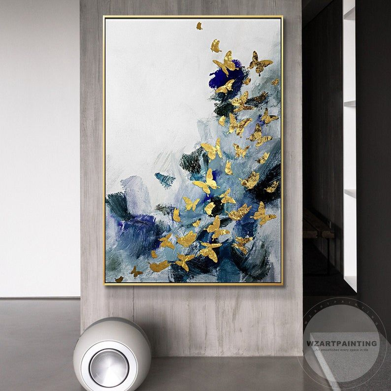 Framed Wall Art Abstract Gold Butterfly Navy Blue Animal Print Etsy In 2020 Wall Art Pictures Painting Wall Art Prints Living Room