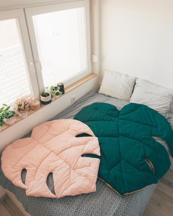Photo of Leaf Monstera mat, Large natural linen mat, Decorative rug, Room decor, Luxury bed cover, Bedside rug, Design mat, Kids room rug