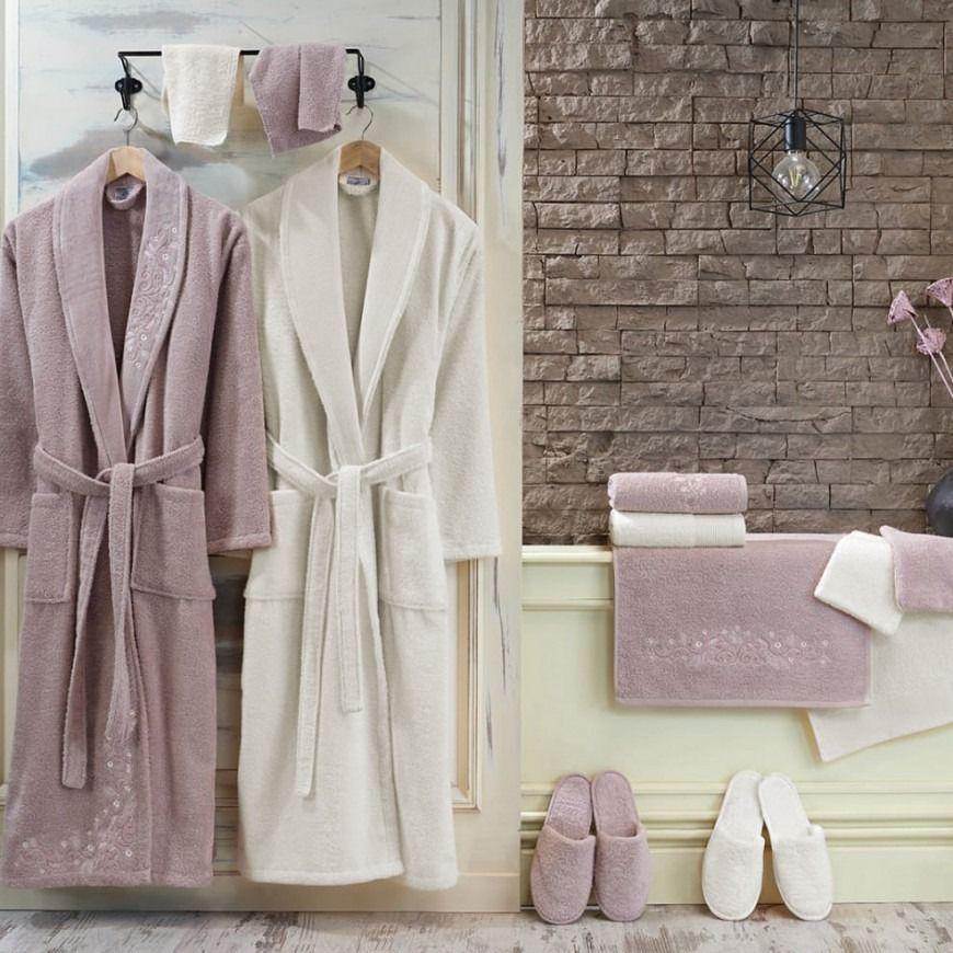 طقم أرواب استحمام نايس ليلكي و كريمي عدد القطع 14 Fashion Robe