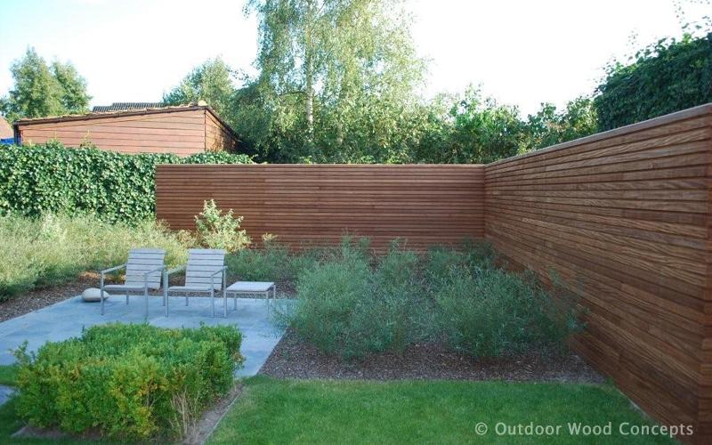 Houten Hekwerk Tuin : Realisatie laco projects kortrijk houten tuinafsluiting tuin
