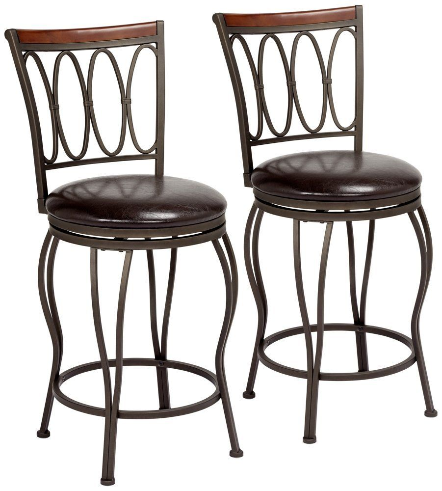 "Amazon.com: Cyrus Bronze 24"" Swivel Counter Stool Set of 2 ..."