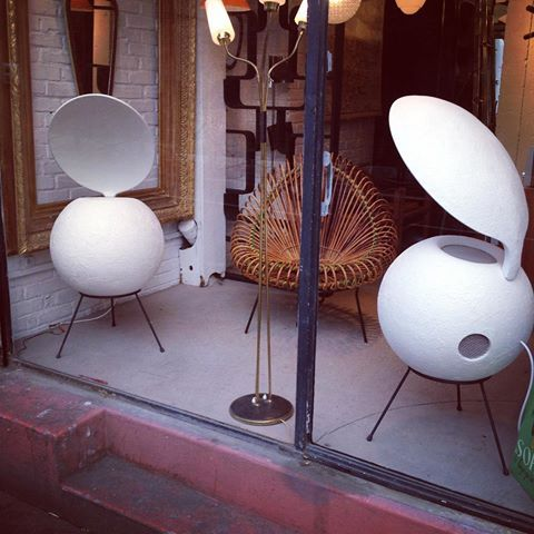"""Extremely rare pair of Elipson speakers: early 60's BS50 'Chambord'  (plaster spheres + """"ear"""" reflectors and coaxial speakers). Marché Paul…    Hi-fi, Joseph, Vintage"""