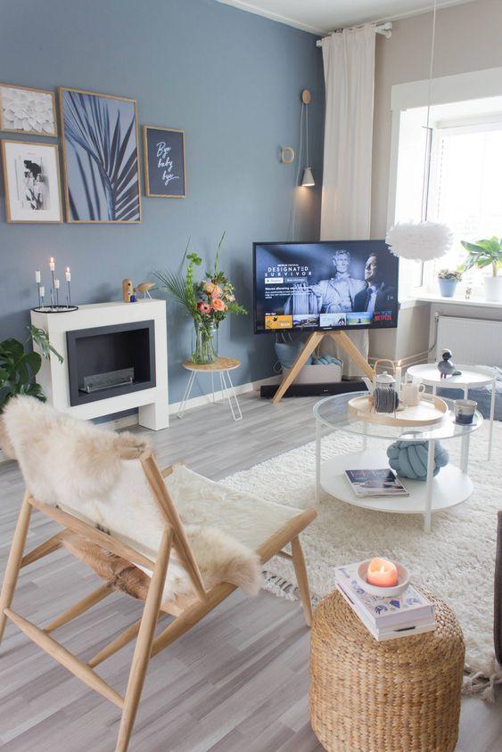36 Cozy Blue Living Room Design Ideas White Walls Living Room Living Room Wall Color Blue Living Room
