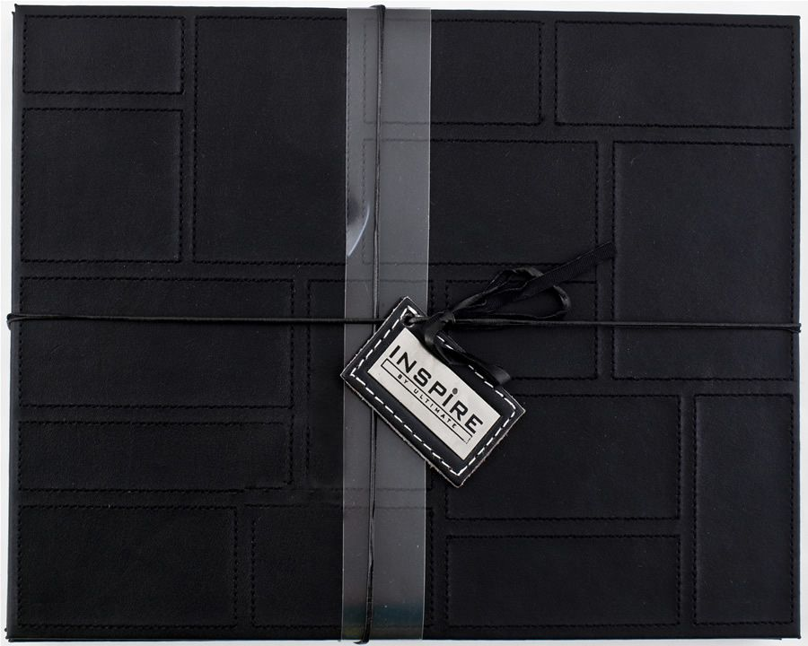 Leather Tablemats   Inspire Patchwork Black Faux Leather Placemats