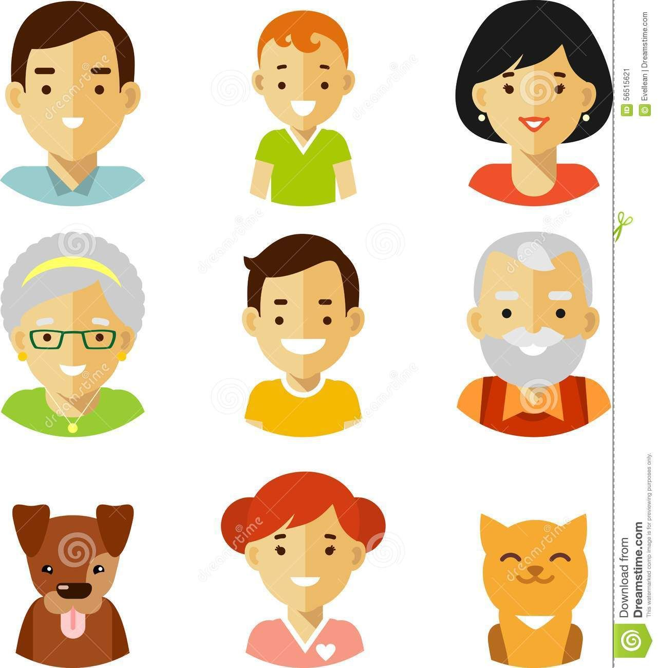 Set Of Seven Family Members Avatars Icons In Flat Style