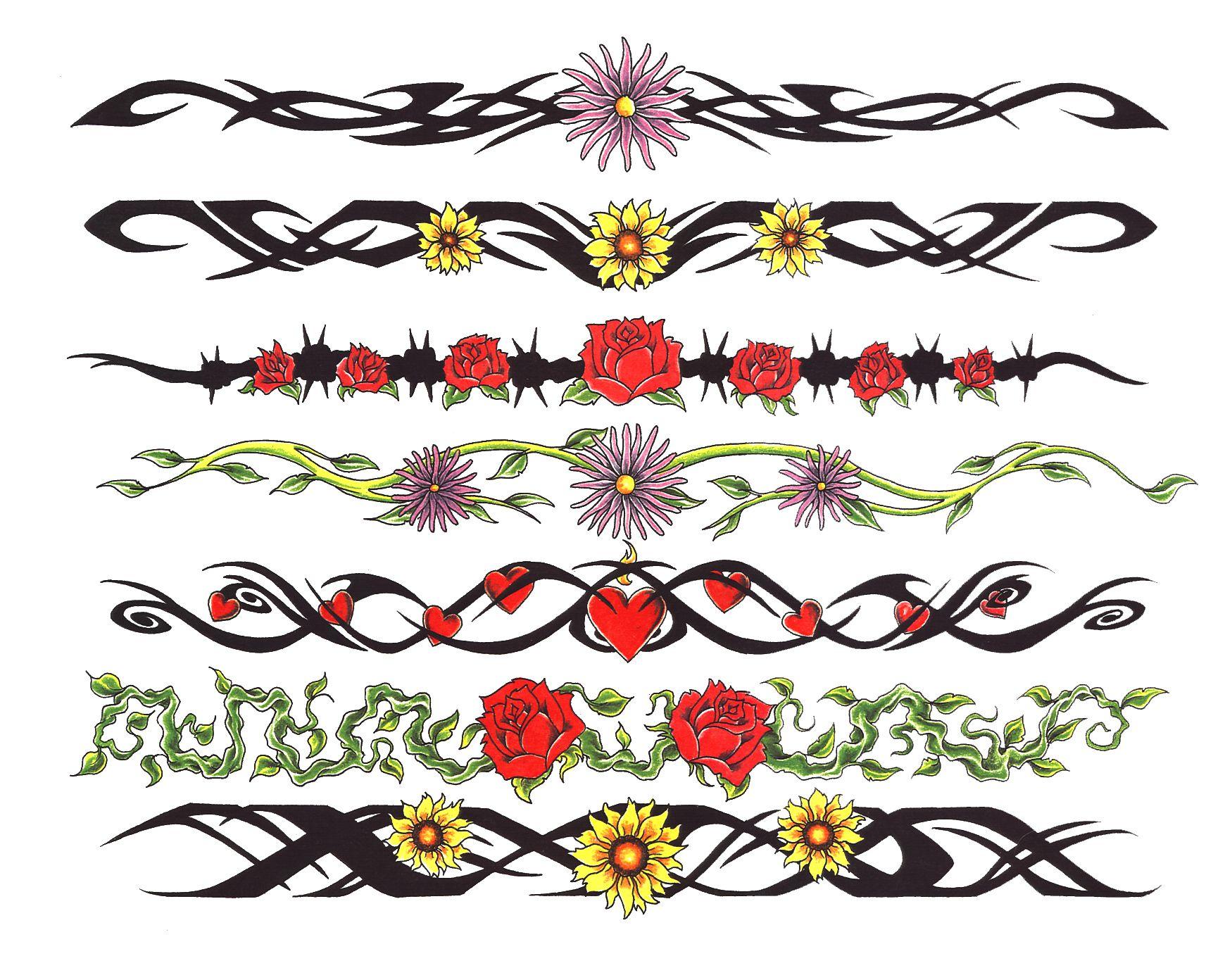 Colored armband tattoo designs armbandtattoos tattoos braceletes