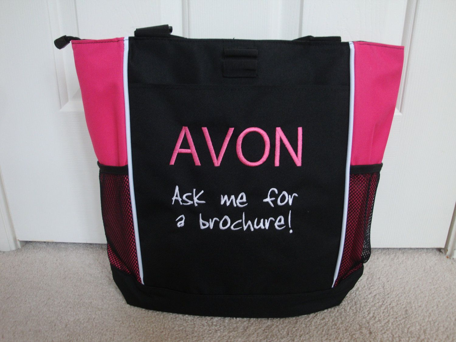 Tote Bag Custom Embroidered AVON Ask for Brochure Any Text 3 Lines Pink Website. $28.00, via Etsy.