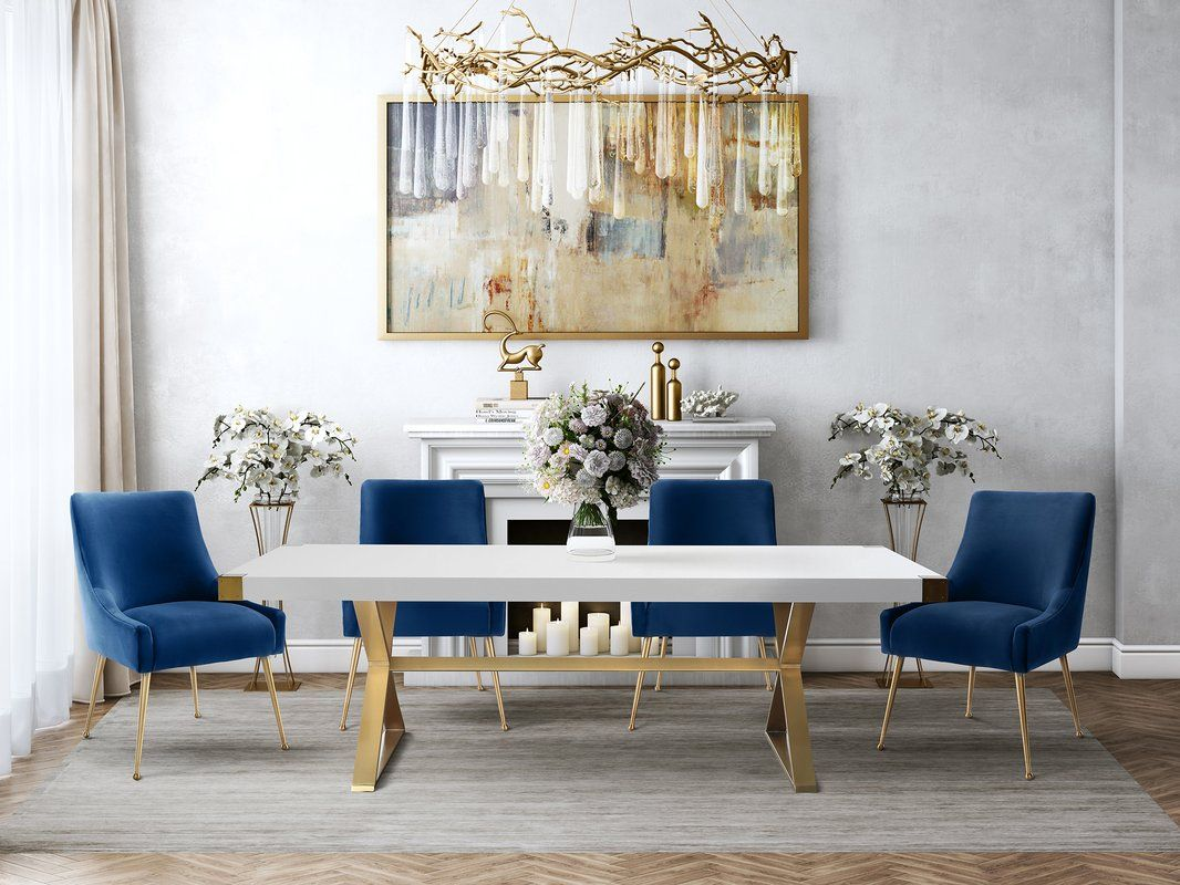 Beatrix Navy Velvet Side Chair With Images Gold Dining Room Velvet Dining Chairs Rectangular Dining Table
