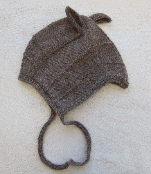 strikket babyhue med ører