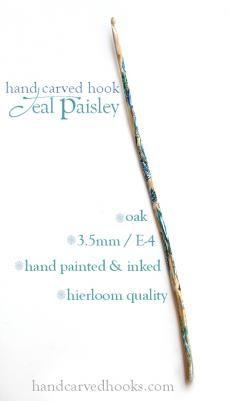 Teal Paisley Hook, size E-4