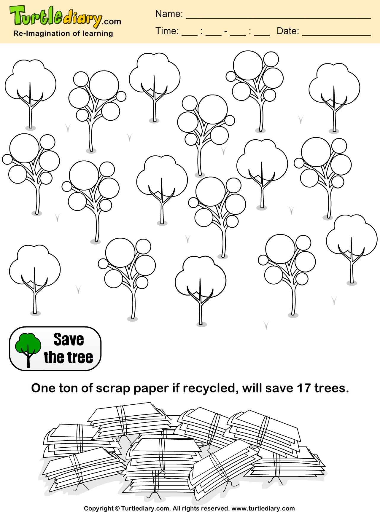 Save Trees Earth Day Coloring Page #Kids #Crafts #Coloring ...