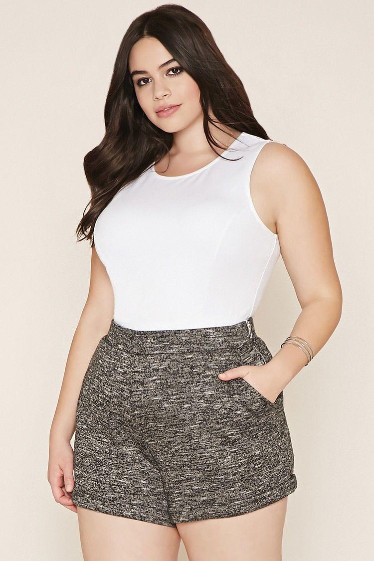 Plus Size Marled Shorts   Plus size outfits, Plus size ...