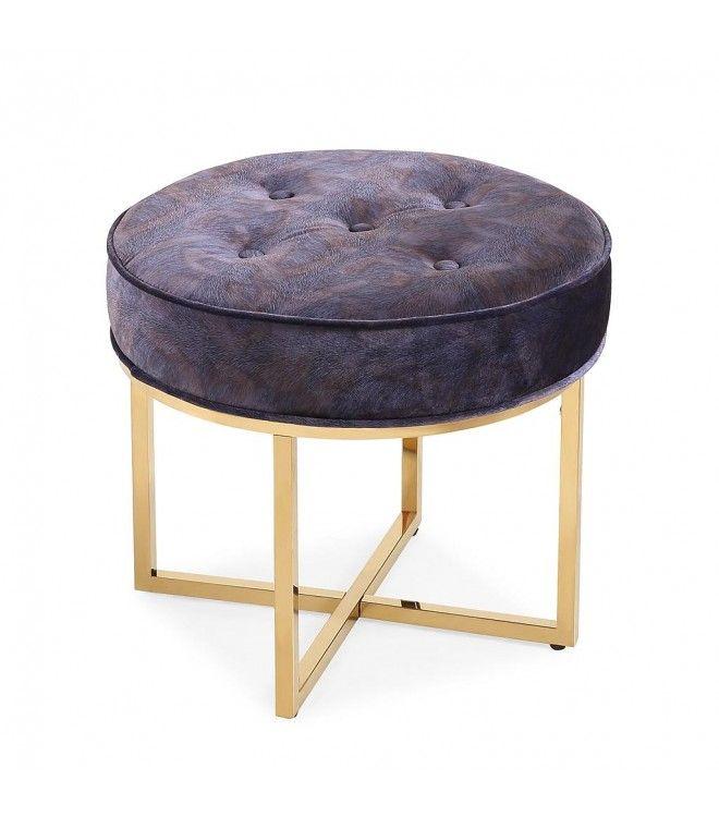 Purple Blue Velvet Footstool Ottoman In Gold Metal Frame Velvet