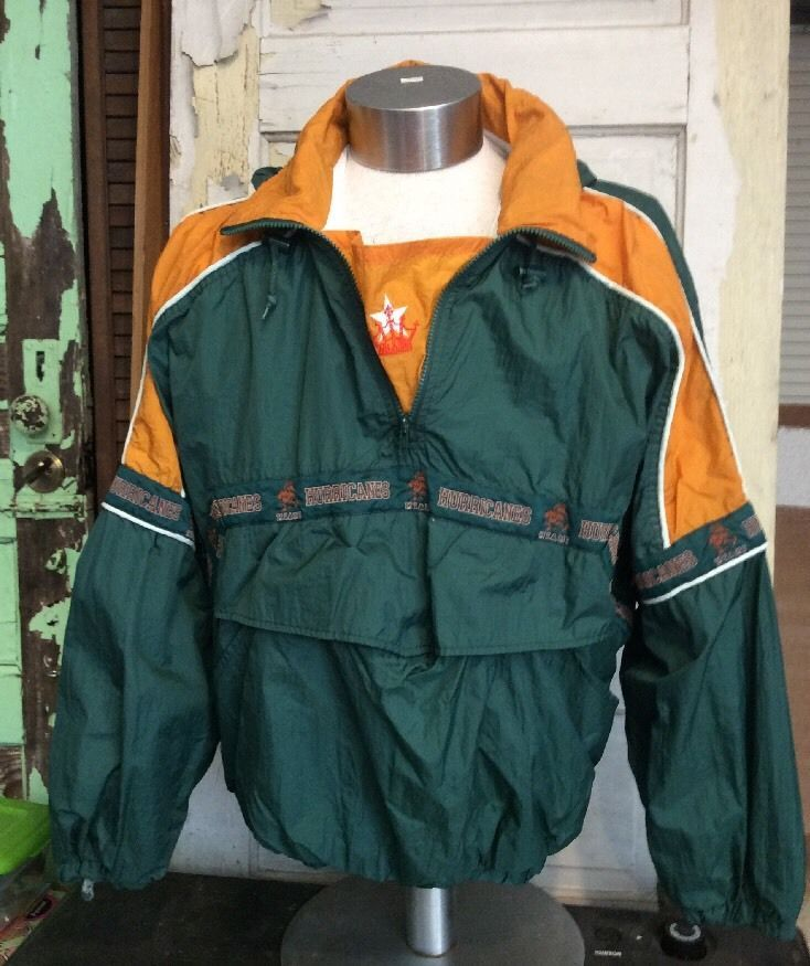 Miami Hurricanes Nylon Jacket With Hood And Lining Size XL #MiamiHurricanes