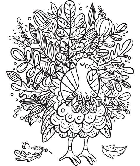 Turkey Foliage Coloring Page Thanksgiving