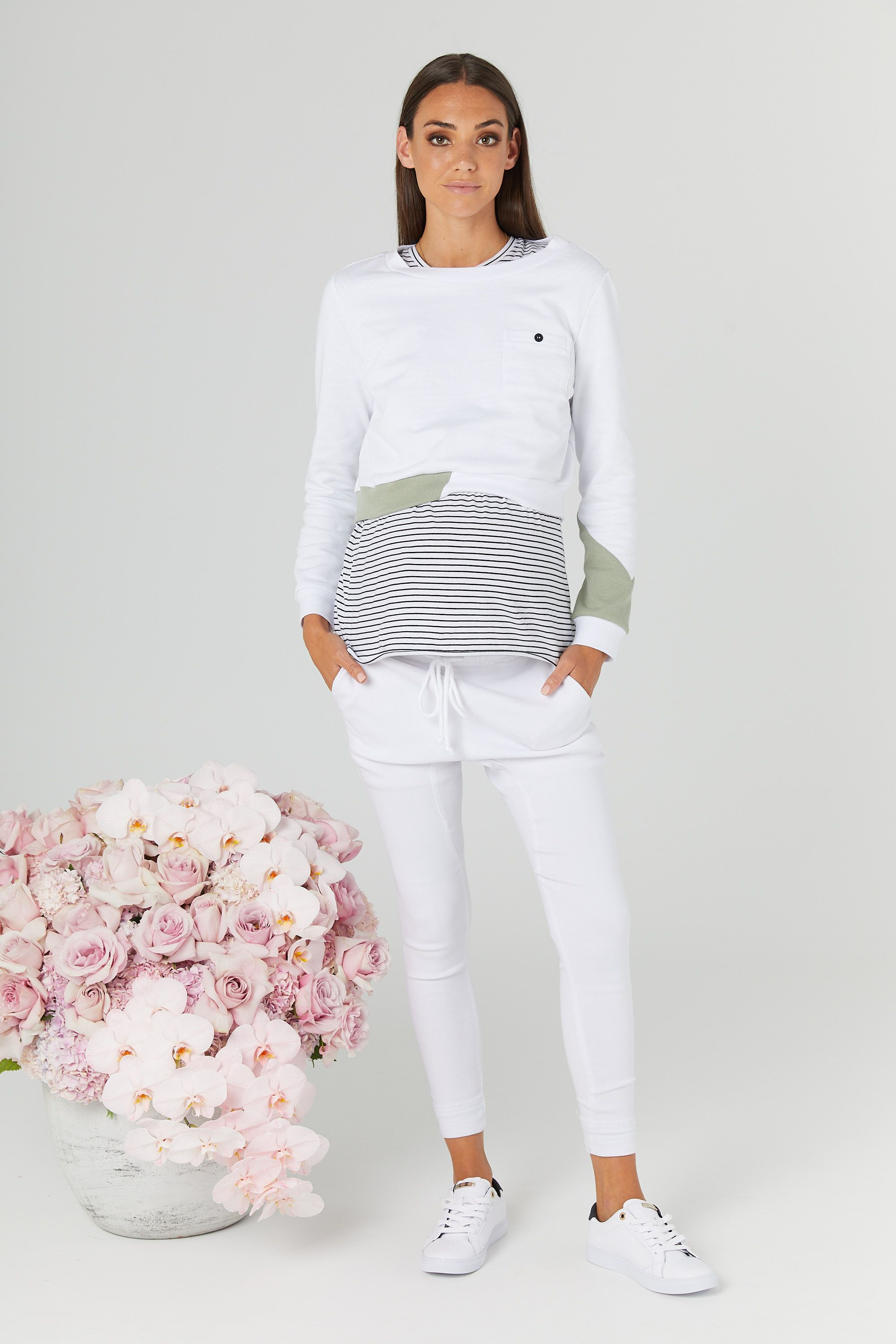 2f4e08165ad88 Sweater Crop (White/Olive) in 2019 | LEGOE. Maternity + Nursing Tops ...