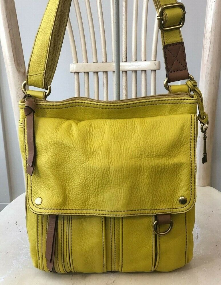 6d8f9b800e FOSSIL MORGAN Traveler CITRUS YELLOW Leather Messenger Crossbody Shoulder  Bag #Fossil #TravelerCrossBody