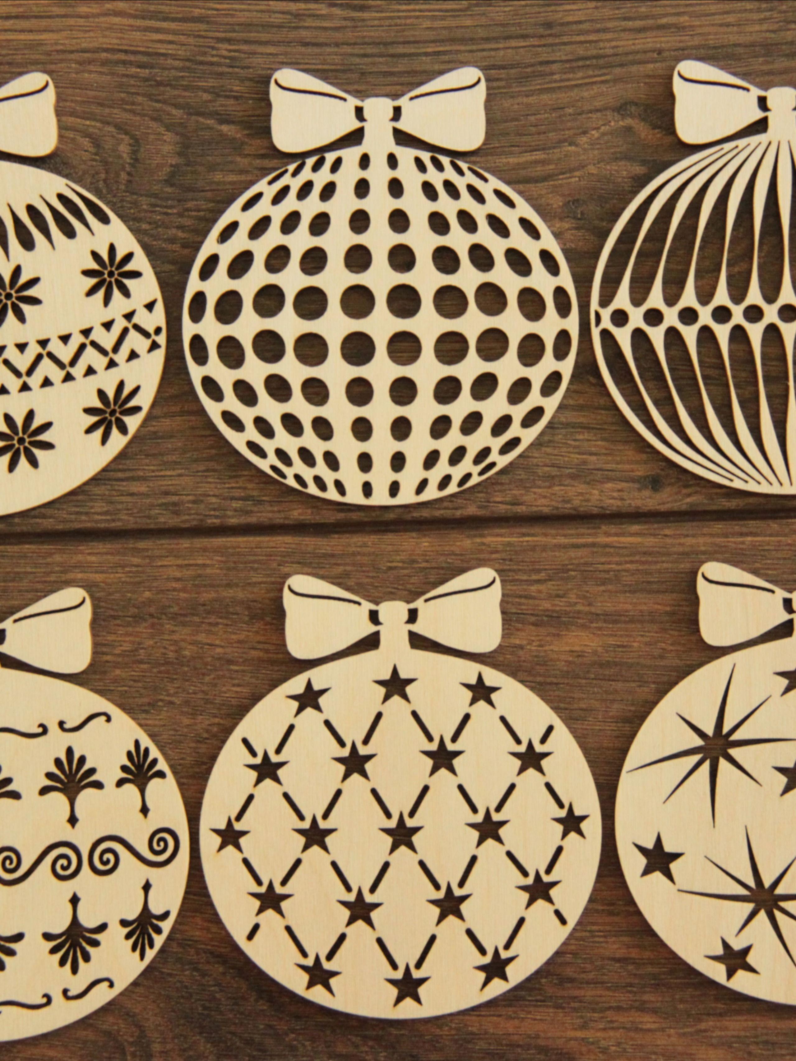 Drewniane Bombki Na Choinke Zestaw 6 Szt Na Swieta Christmas Wood