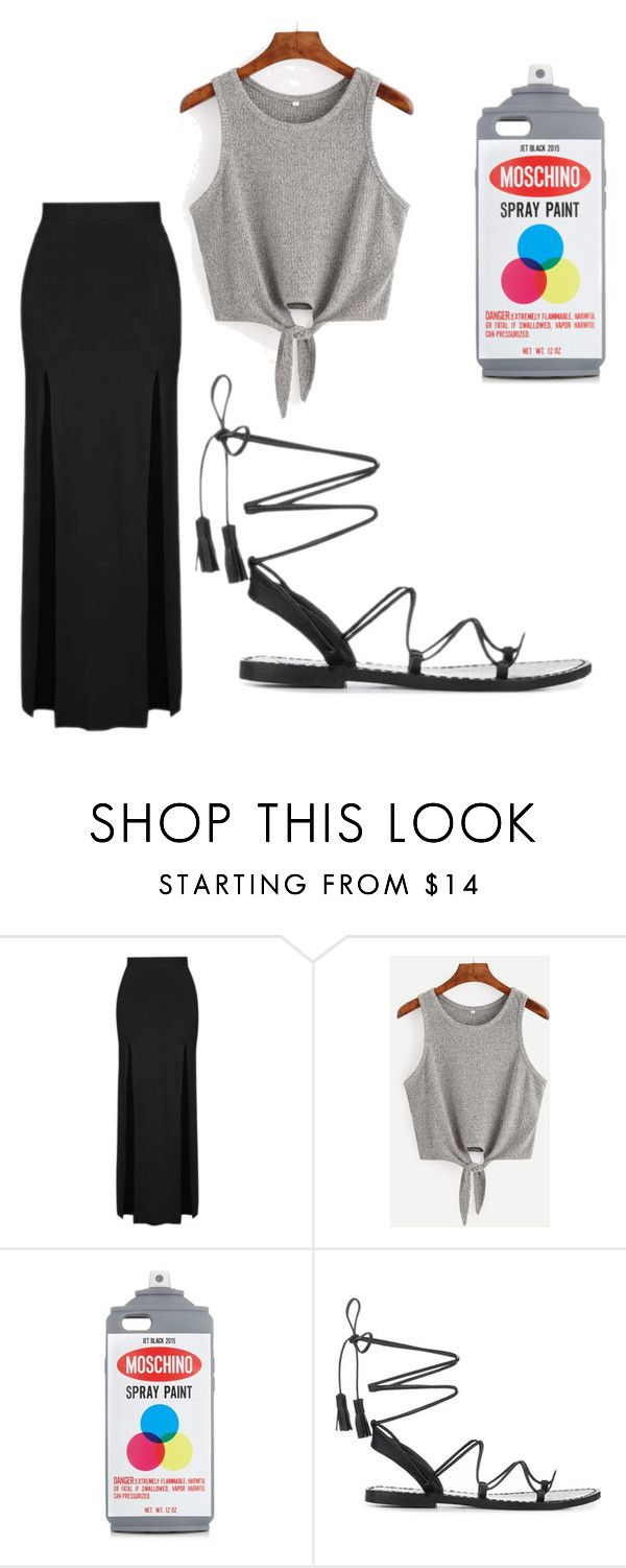 """Lovely in gray"" by happymint1981 ❤ liked on Polyvore featuring Topshop, Moschino and Anine Bing"
