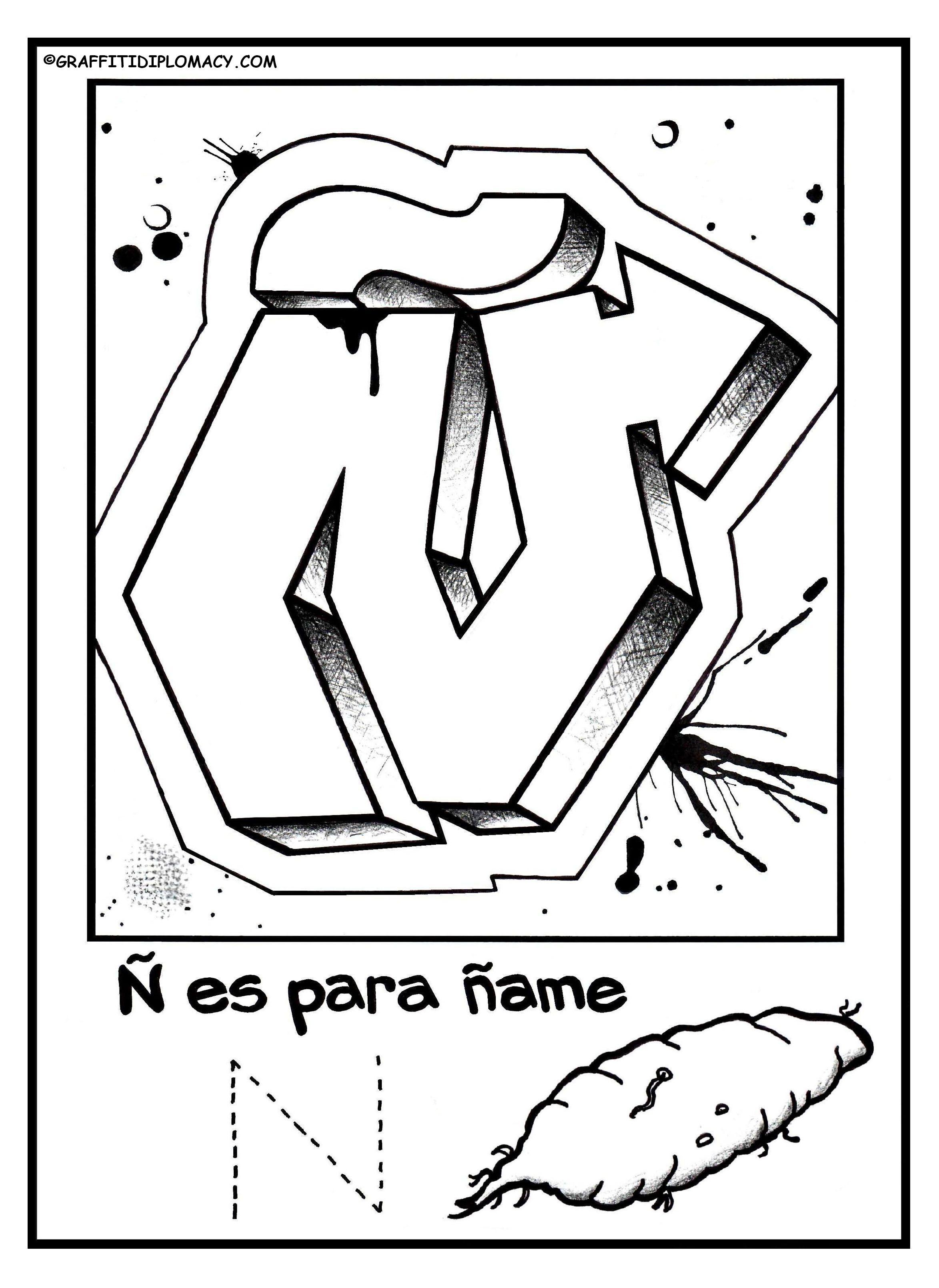 Alphabet Page Spanish Alphabet Coloring Book Graffiti
