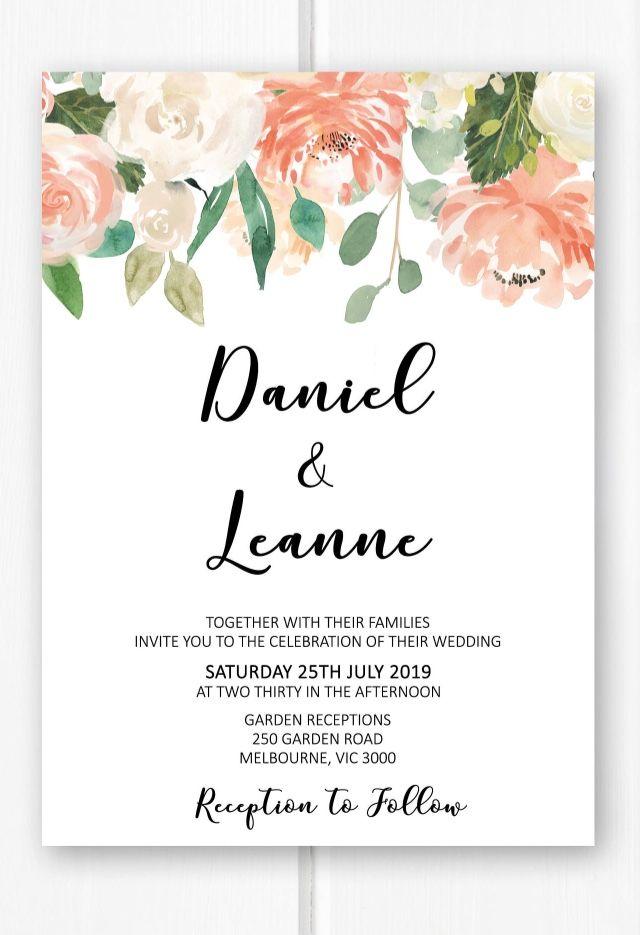 Floral wedding invitation printable wedding invitations set, blush ...