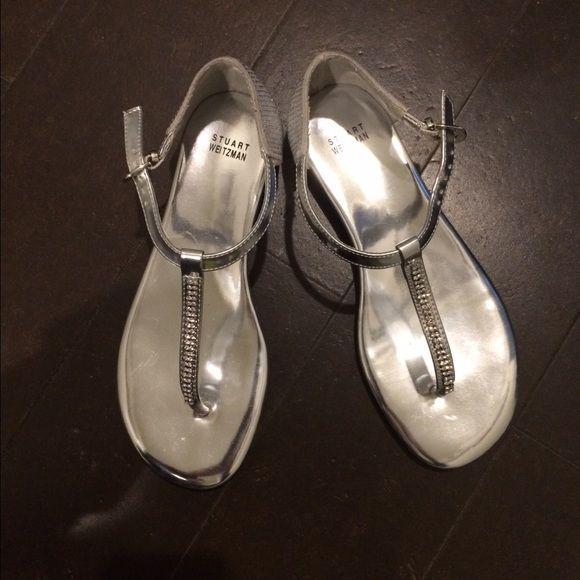 Stuart Weitzman Silver Jeweled Sandals Size 5; Worn Three