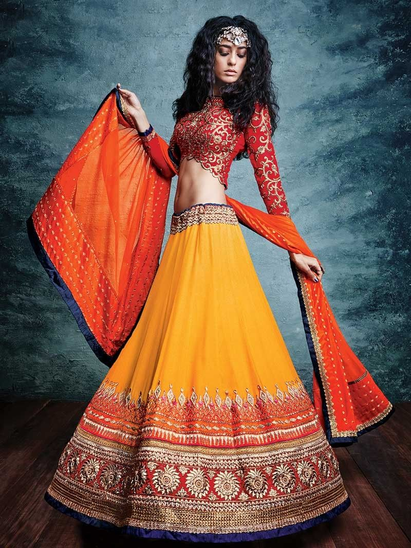 9308b315a71af Yellow & Red color Heavy Embroidered Wedding Lehenga by Nakkashi ...