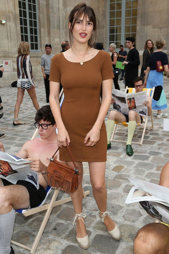 42f1cff6a19 Jeanne Damas camel minidress and natural lace up espadrilles ...