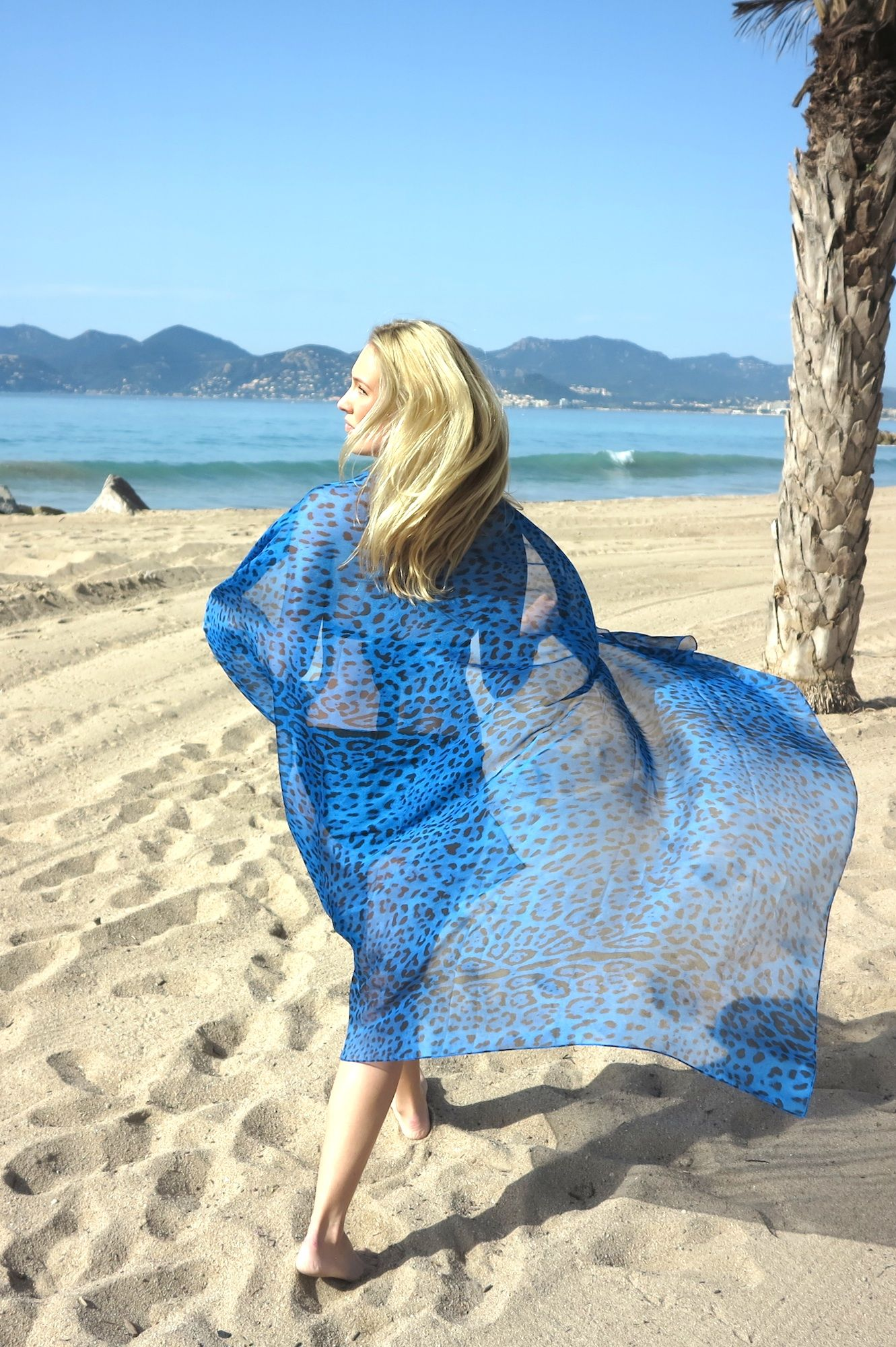 c32a0a4878 Online Luxury Beachwear and Cover Ups | Blue Leopard Print Sarong ...