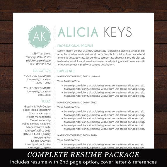 Resume Template Professional Package Mac Or Pc For Word