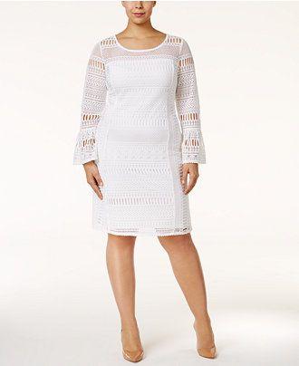 Alfani Plus Size Lace Shift Dress, Only at Macy\'s - Dresses ...