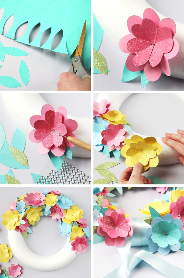 Diy Paper Flower Wreath Gathering Beauty Paper Flower Wreaths Paper Flowers Diy Simple Paper Flower