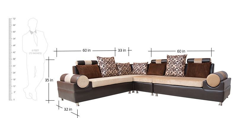Sofa BedSleeper Sofa Sonata Sofa Set Corner with Cushions in Brown Colour by Crystal Furnitech by Crystal Furnitech Online Sofa Sets Furniture Pepperfry