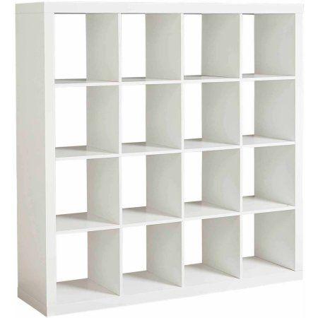 Modern Sixteen Square Cubbies White Closet Storage Unit With Cubes Shelves Cabinet Shoe Organizer Space Saver Shelv Ikea Kallax Shelf Kallax Ikea Shelving Unit