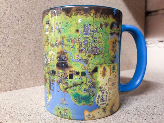 Runescape map mug World gamer Fan cup Free to play full F2P RS MMO - new osrs world map in game