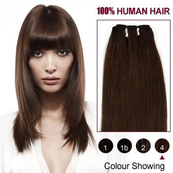 10 Medium Brown(#4) Straight Indian Remy Hair Wefts