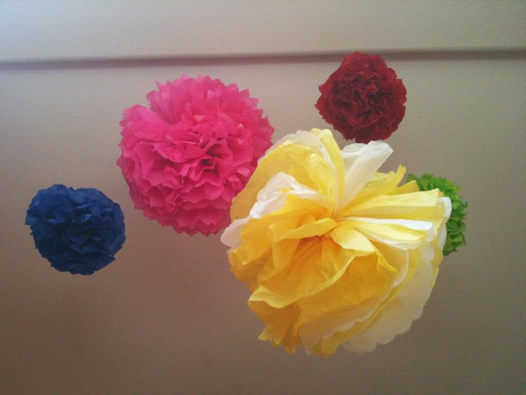 Homemade wedding decoration ideas  DIY Tissue Pom Pom Decoration Tutorial  Pom pom decorations