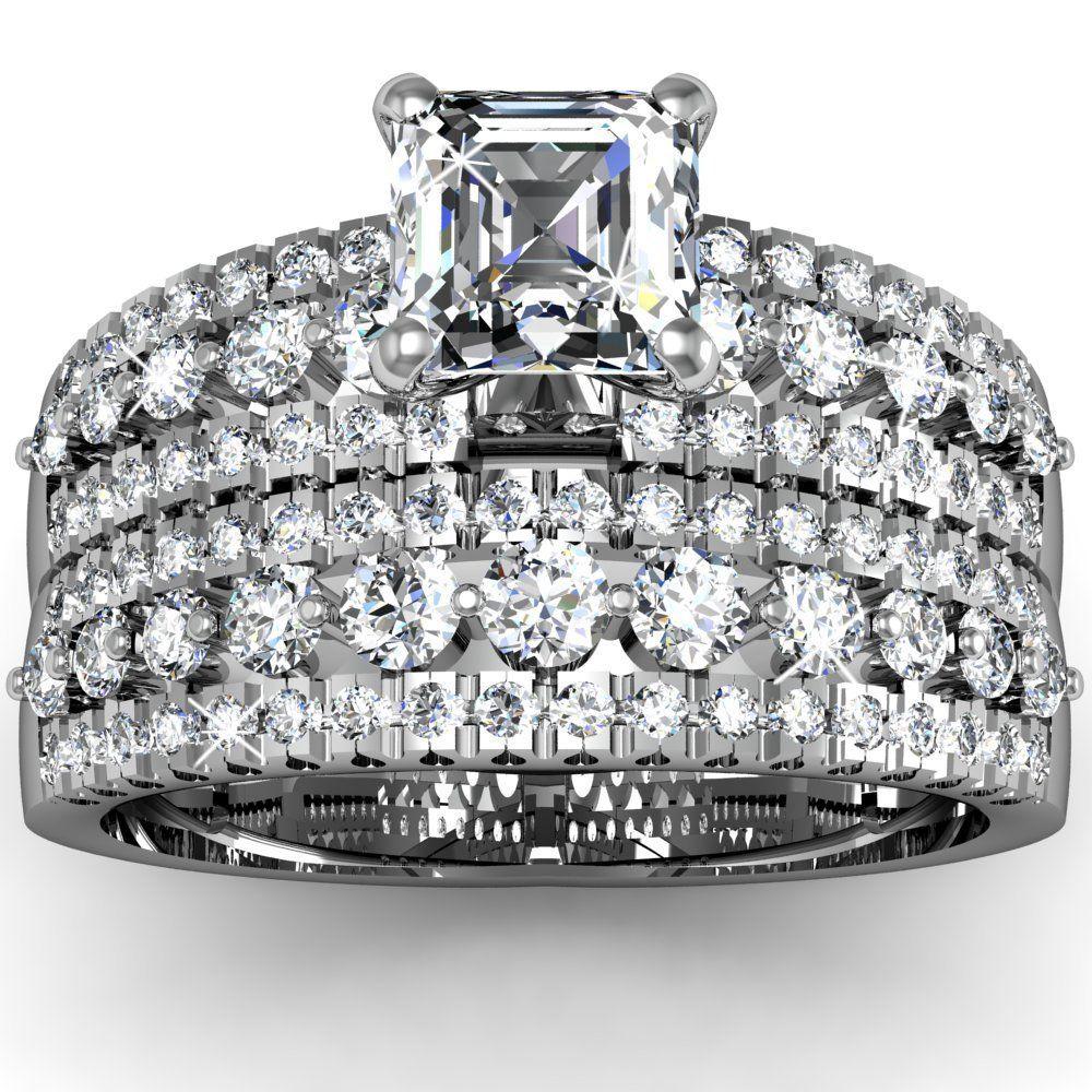 Diamond Unique Engagement Wedding Ring Sets