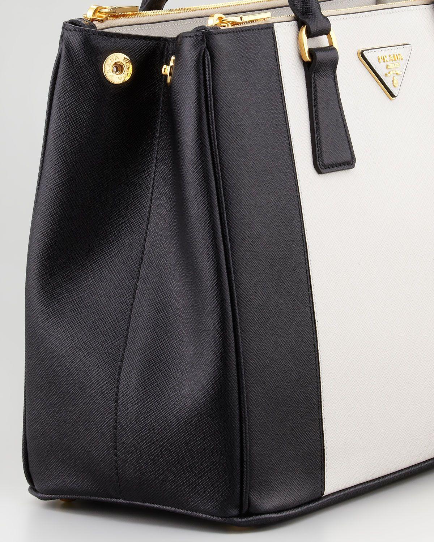 abc2ffe63670 Prada Bicolor Saffiano Doublezip Tote Bag in Black (black/white) | Lyst