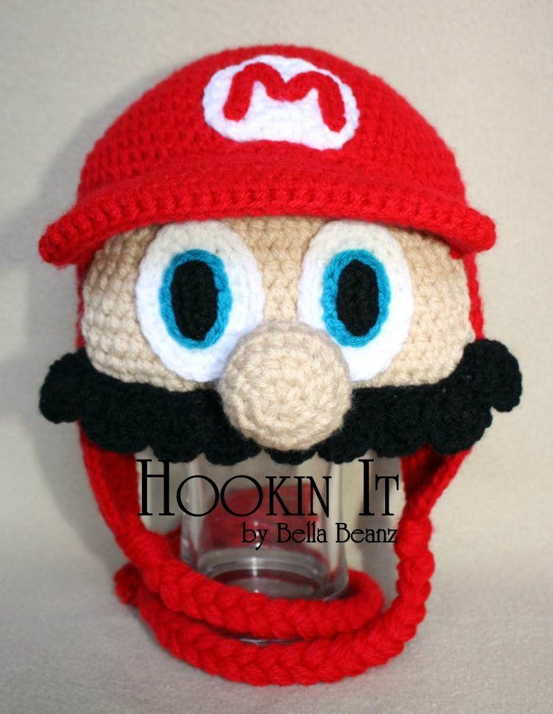 e5413b97744b8 CROCHET - HAT - SUPER MARIO   LUIGI   TOAD - NINTENDO - Super Mario  Brothers Inspired Hat